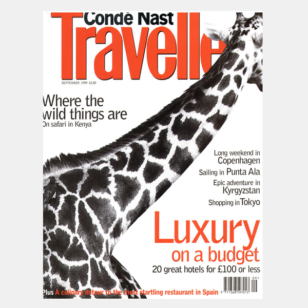 Cover of Conde Nast Traveller UK magazine with the image of a Giraffe.