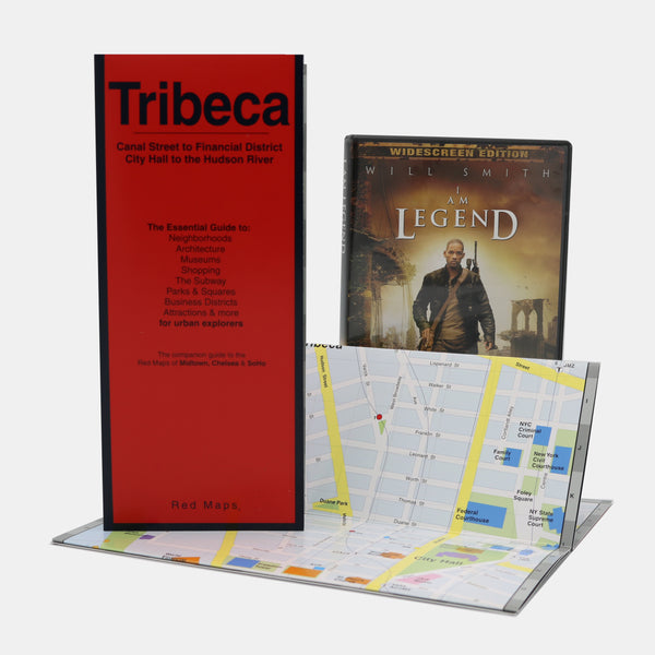 Custom map of Tribeca with a red cover and a DVD of the movie I Am Legend.