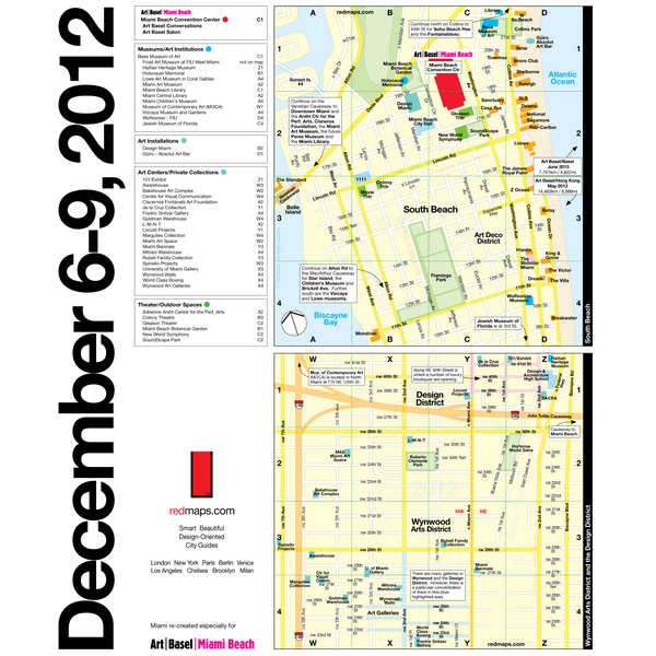 Custom map of Miami Beach showing the exhibition spaces of 2012 Art Basel Miami Art Fair.