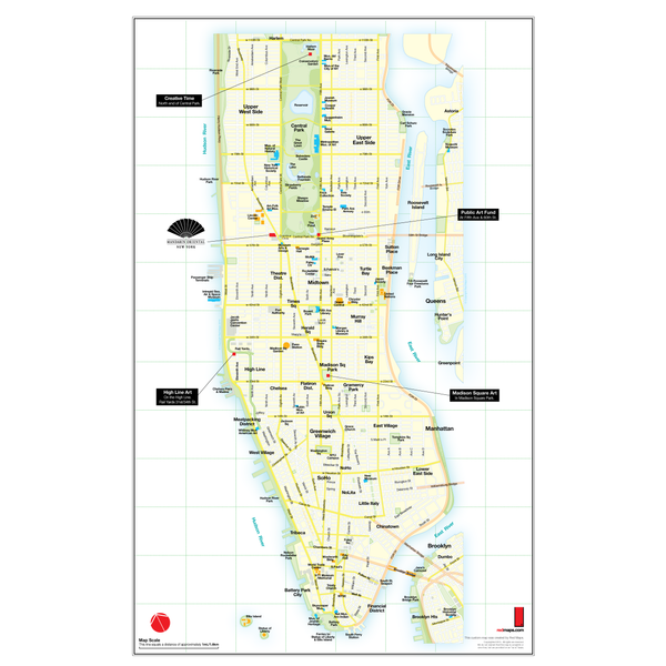 Custom map of Manhattan that shows locations of outdoor art installations during a summer.