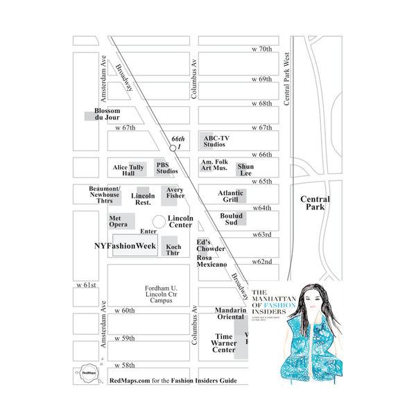 Custom map showing restaurants in the area near Lincoln Center in NYC, with an inserted drawing by The Selby.