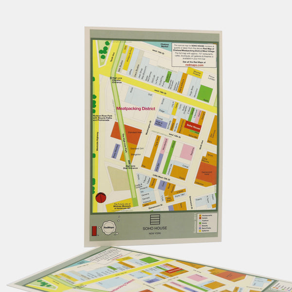 Custom map of the Meatpacking District in NYC showing shopping, restaurants, bars, and cafes.