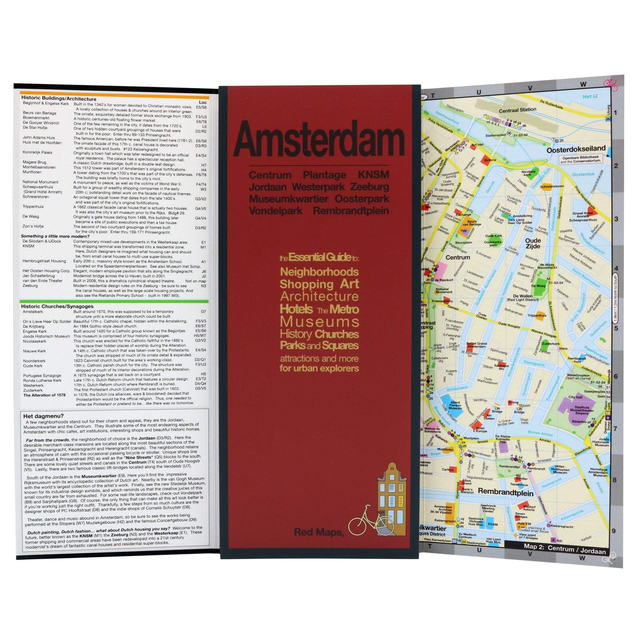 Travel Map of central Amsterdam's historic sites and neighborhoods