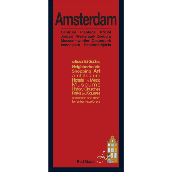Foldout travel map of Amsterdam with a red cover