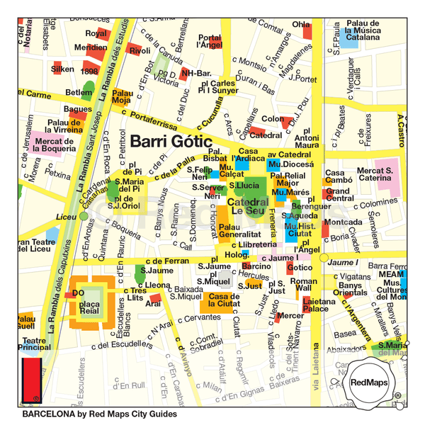 Barcelona travel map showing points of interest and architectural landmarks in Barcelona's historic city center.