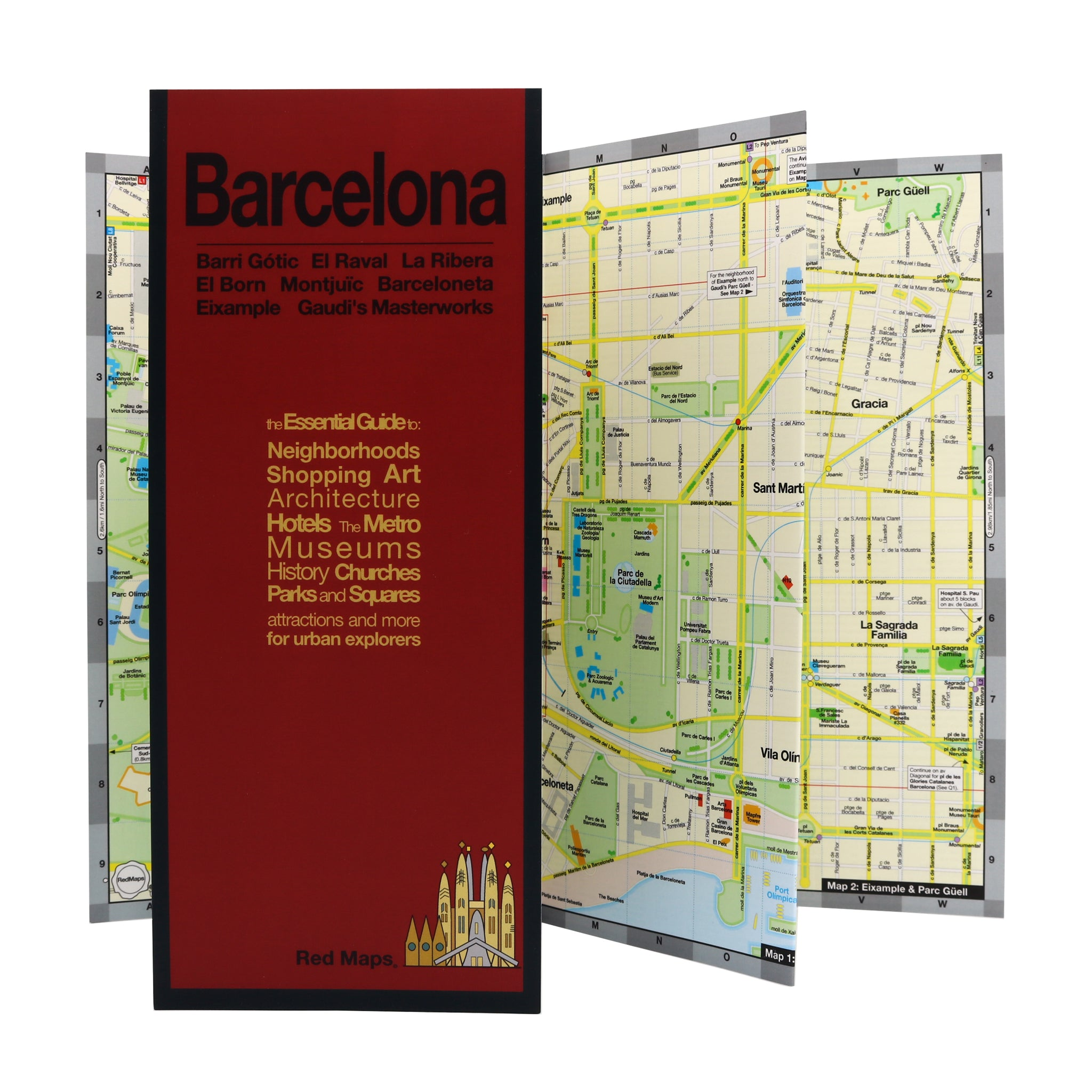 Central Barcelona travel map with points of interest.
