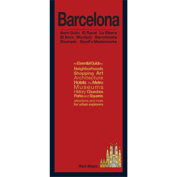 Travel map of Barcelona with a red cover