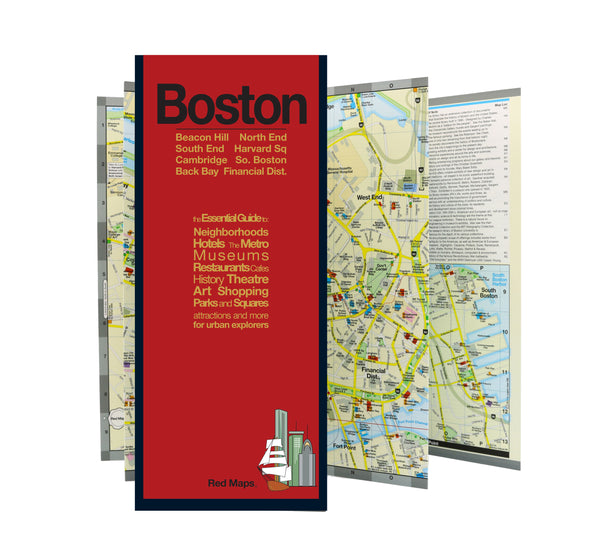 Foldout travel street map of central Boston.