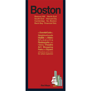Boston neighborhoods travel map with red cover.