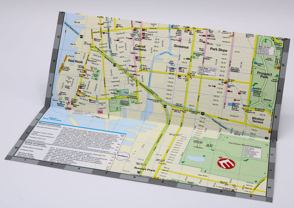 Foldout-Brooklyn-map-with Red Hook, Park Slope, and Carroll Gardens neighborhood restaurants and shopping.