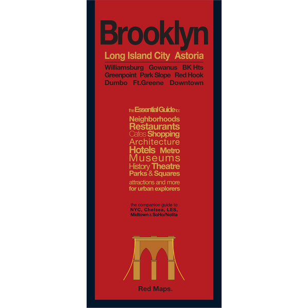 Brooklyn neighborhoods travel map with red cover.