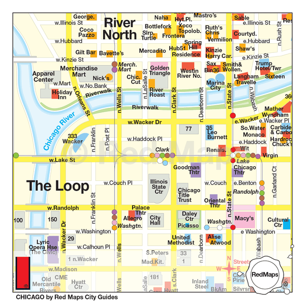 Chicago travel map showing River North and Loop neighborhood theatre, restaurants and hotels.