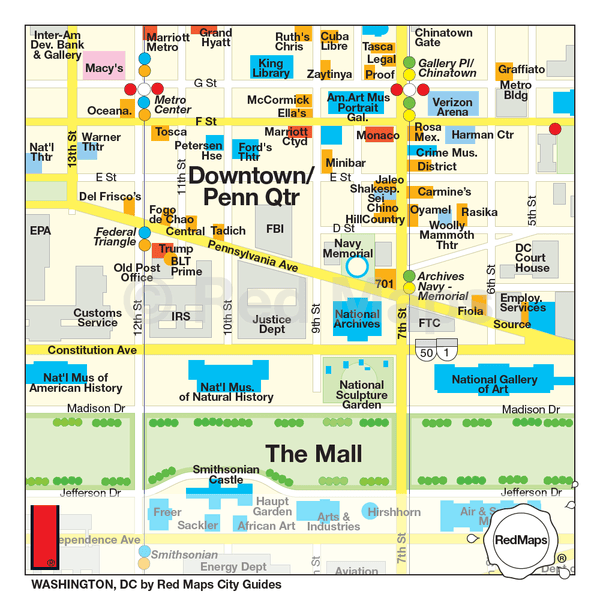 Washington DC travel map showing attractions in Downtown DC, Penn Quarter, and the Mall