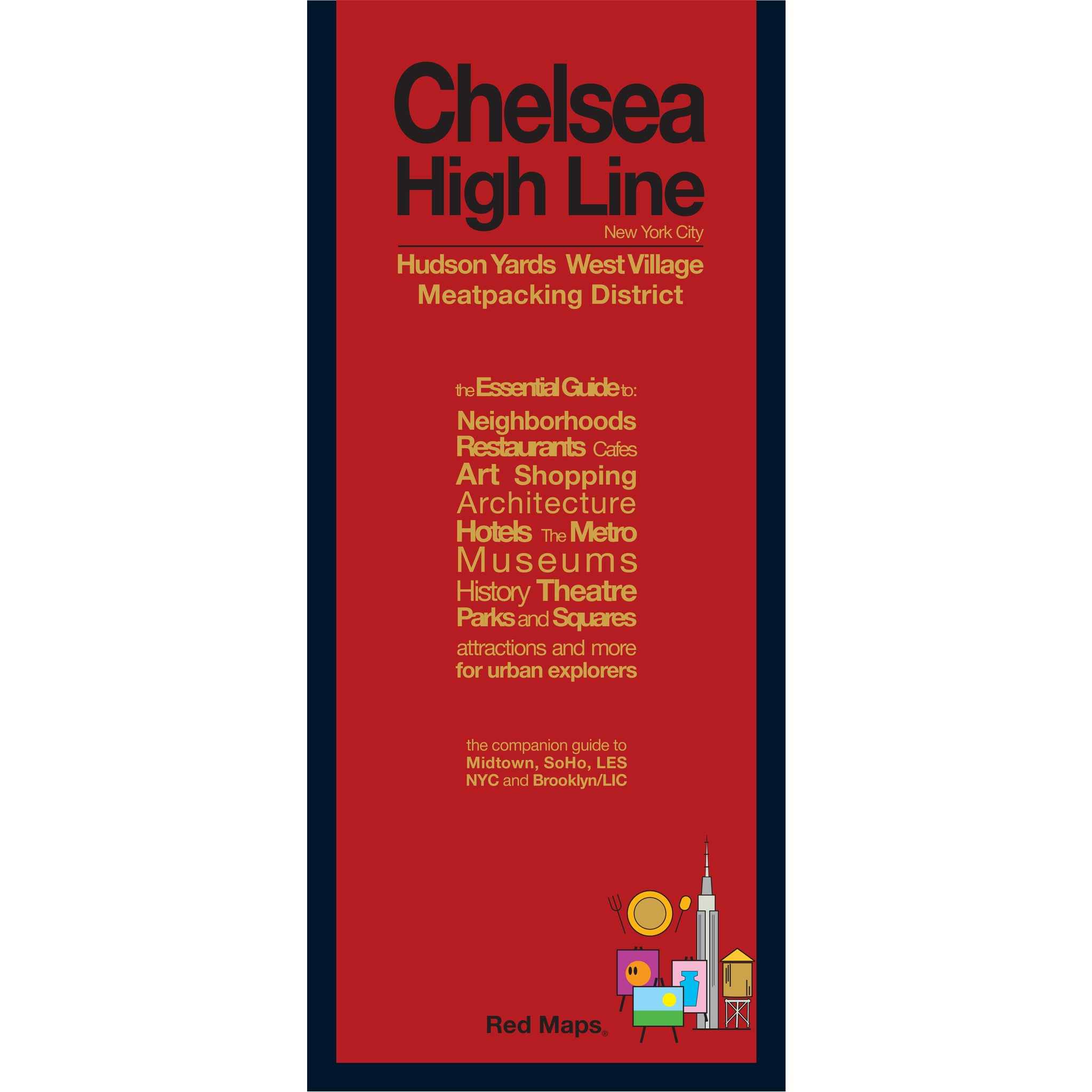 foldout map of Chelsea and High Line neighborhoods of Manhattan with a red cover