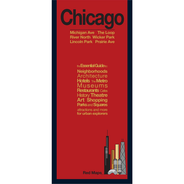 Chicago neighborhoods travel map with red cover.