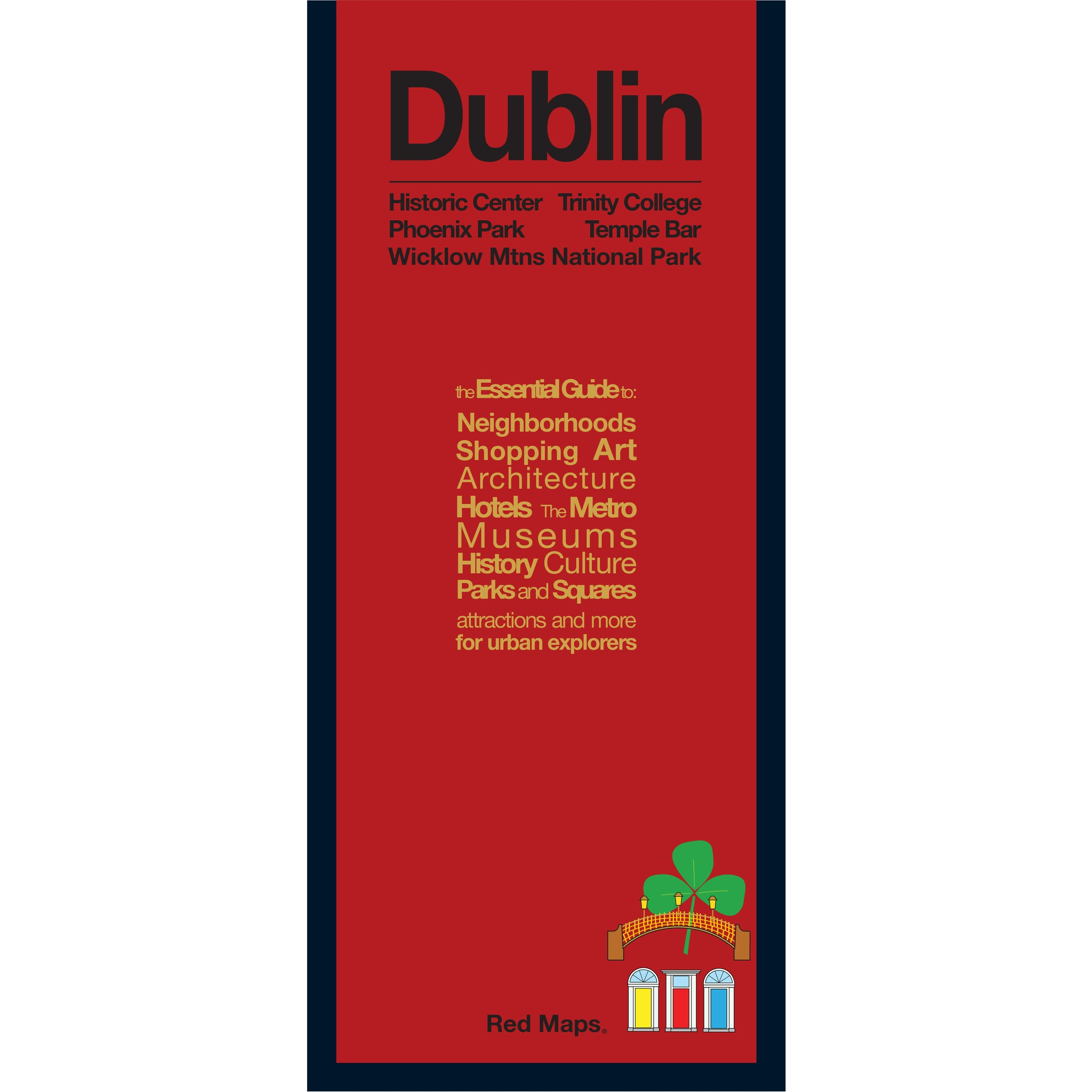 foldout map of Dublin Ireland with a red cover