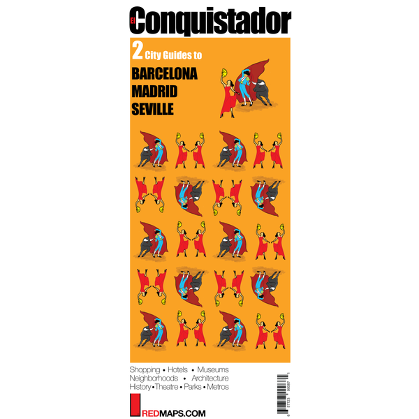Multi-City map set called El Conquistador that has two cultural guides to Madrid, Seville and Barcelona