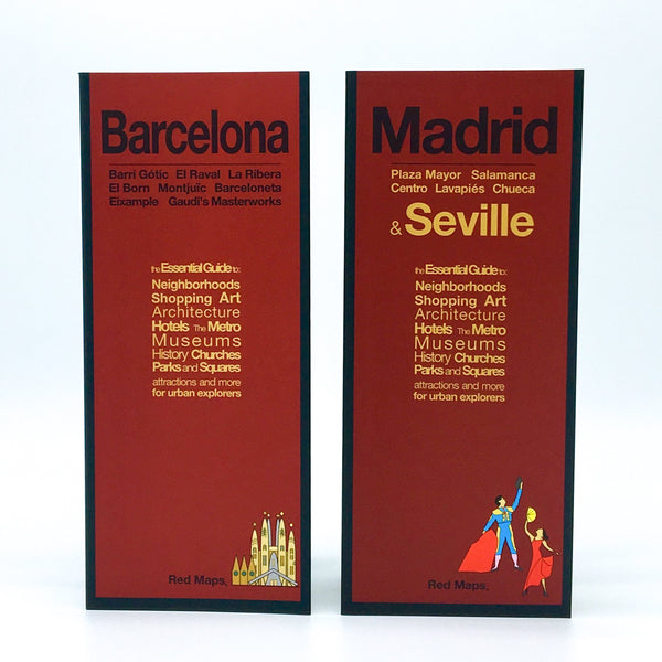 Two foldout city maps with red covers to Barcelona, Madrid and Seville, Spain