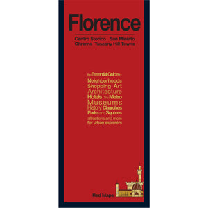 foldout map of Florence Italy with a red cover