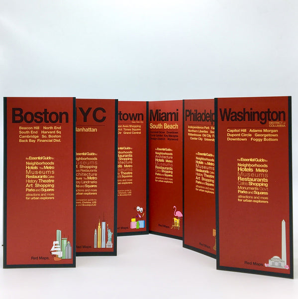 Six foldout city maps with red covers to New York City, Philadelphia, Boston, Washington,DC and Miami