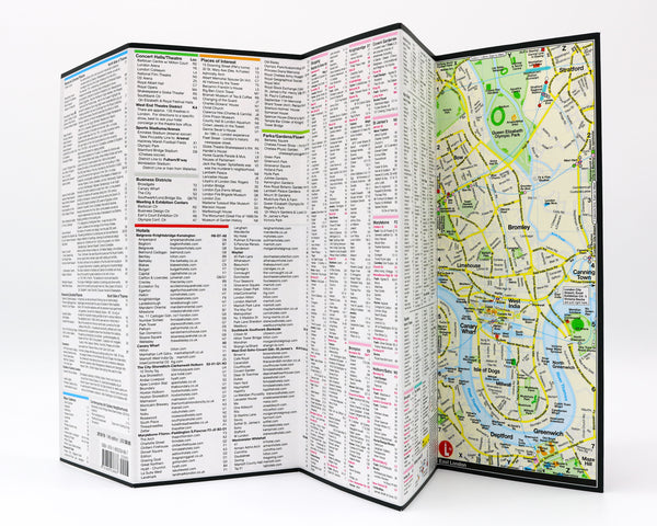Foldout map of London that has detailed lists and information about museums, shopping, hotels, and popular London attractions.