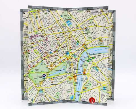 folded city map of London England that shows the hotels, theatre and tube stations in the city center