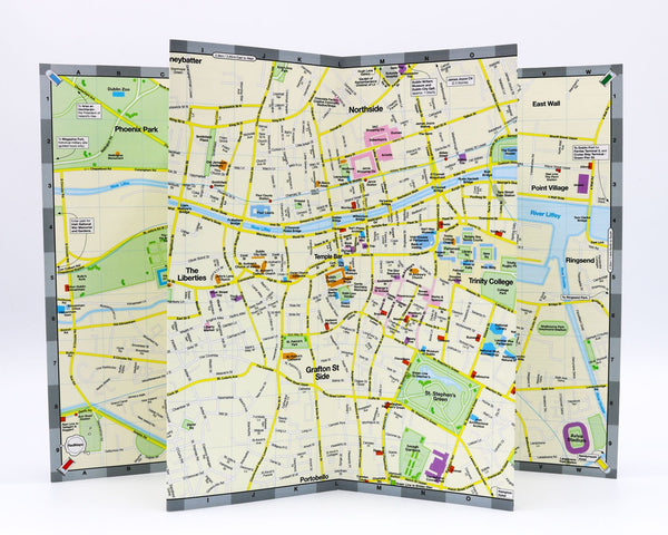 Foldout map of Dublin showing popular tourist attractions, parks and squares, museums and MetroLink stations.