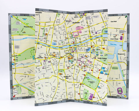 City map of Dublin Ireland showing central Dublin's most popular tourist destinations.