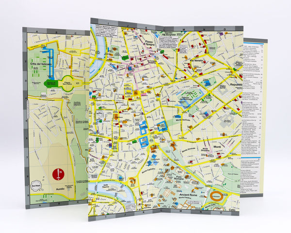 Foldout map of central Rome showing landmarks and popular attractions near Piazza Navona and the Pantheon.