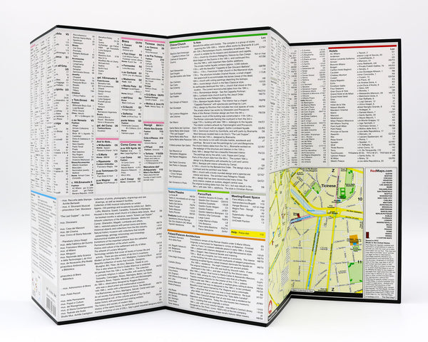 Foldout map of Milan that has detailed information about Milan designer boutiques, museums and popular Milan tourist attractions.