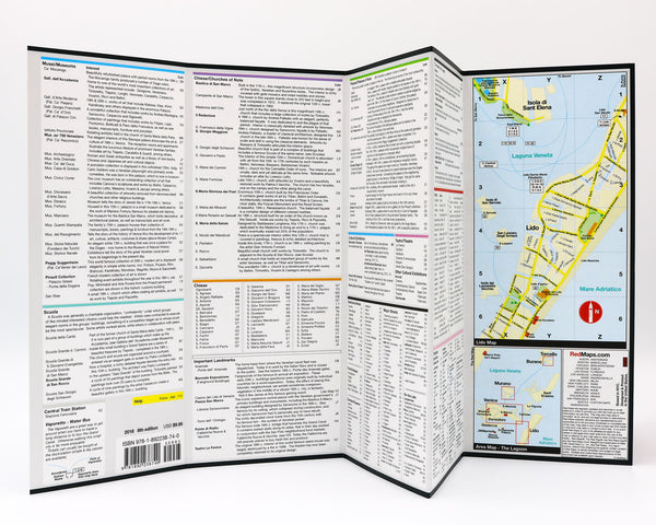Map of Venice with detailed information about shopping near St. Mark's Basilica, Venetian churches, architecture and historic landmarks.