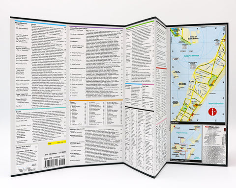 A foldout map of Venice that has detailed list of where to shop, and descriptions of landmarks and museum art collections.