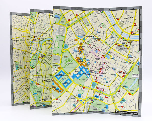 Vienna city center map with museums, shopping, hotels, Vienna Palaces, opera houses, plus metro stations and tram routes.