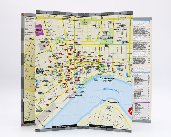 New Orleans Map showing the Central Business District Convention Center with nearby hotels, museums, popular restaurants and tourist attractions.