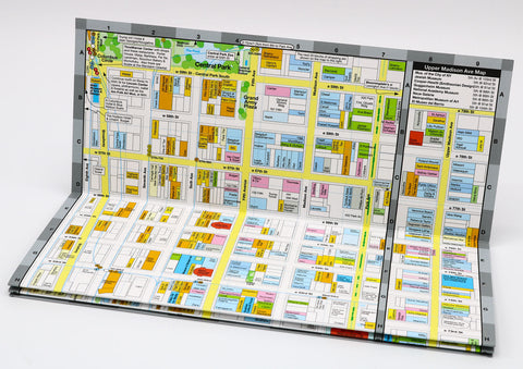 foldout map of Midtown Manhattan New York that shows in detail the shopping, restaurants, museums and hotels of the neighborhood