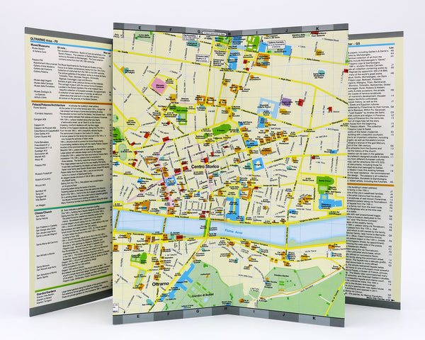 Detailed foldout map of central Florence that shows popular attractions, architecture, museums, landmarks and piazzas.