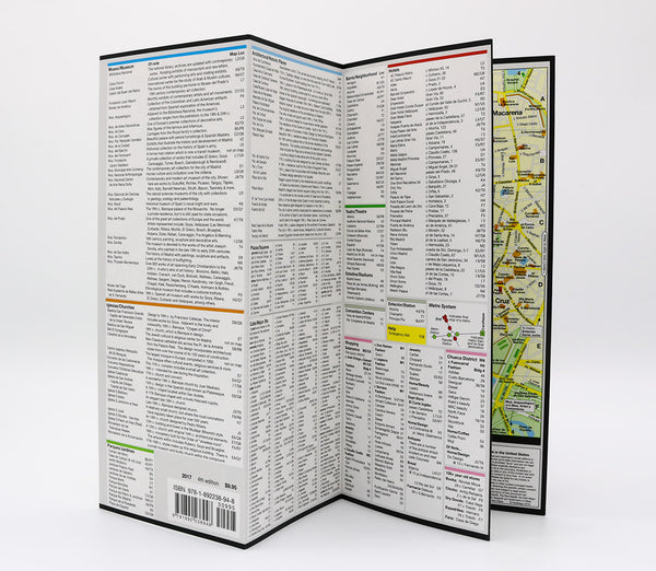 Foldout map of Madrid that has detailed information about shopping, museums and popular Madrid tourist attractions.