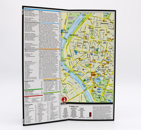 map of Seville Spain that show museums, important landmarks, and the shopping and hotels in central Seville.