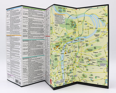 A foldout map of Prague with detail lists and descriptions of landmarks, cultural attractions and museums.