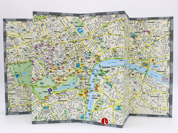 Map of central London that shows museums, theatre, London Parks, shopping, hotels and nearby Tube Stations.
