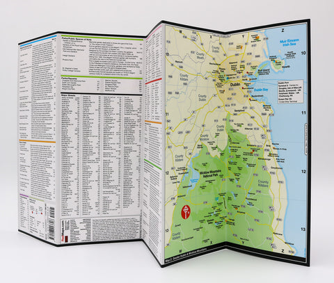 Foldout map of Dublin Ireland that shows lists of popular tourist attractions in the city and in Wicklow Mountains National Park.