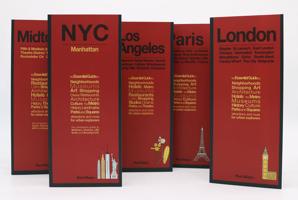 Five foldout city maps with red covers to Paris, Los Angeles, New York City and London