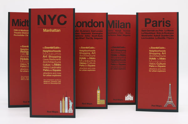 Five foldout shopping maps with red covers to Paris, London, Milan and New York City