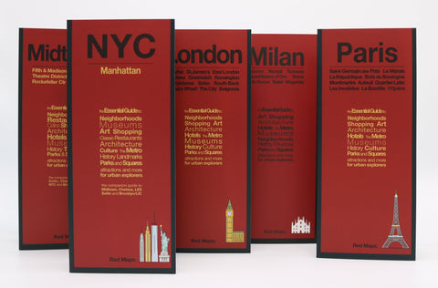 Five foldout shopper's guides with red covers to Paris, London, Milan, and New York City