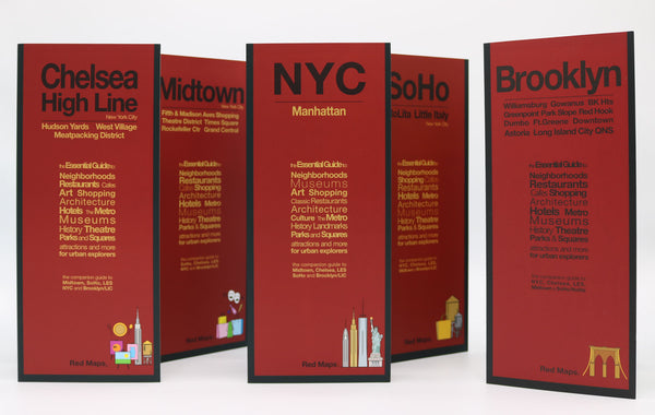 Five foldout NYC maps with red covers to Manhattan, Brooklyn, Long Island City, Midtown, SoHo, Chelsea, & HighLine