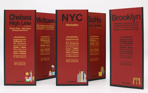 Five neighborhood shopping maps with red covers for what to do in New York.