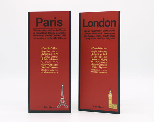 Two foldout city maps with red covers to Paris and London