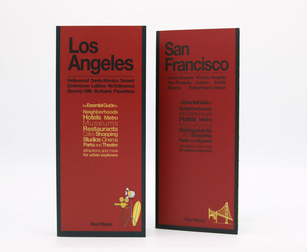 Two foldout maps with red covers to San Francisco and Los Angeles