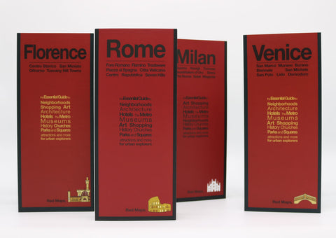 Four Italy travel guides with red covers to Rome, Florence, Venice, and Milan.