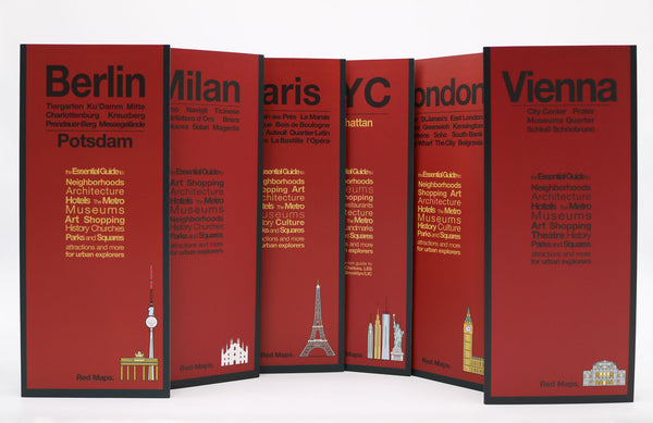 Six foldout city maps with red covers to Milan, Vienna, London, Paris, Berlin & New York City